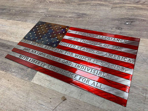 Nashville Metal Art Metal Wall Art Pledge of Allegiance Flag (3 Sizes)