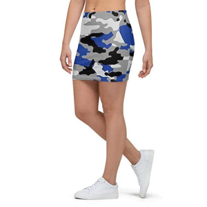 American Patriots Apparel Mini Skirt Blue, Black, Grey and White Mini Skirt