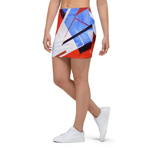 American Patriots Apparel Mini Skirt Red White and Blue Puzzle Pattern Mini Skirt