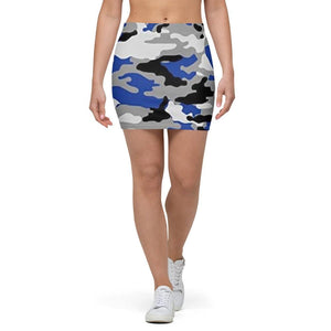 American Patriots Apparel Mini Skirt XS / Blue/Black/Grey/White Camo Blue, Black, Grey and White Mini Skirt