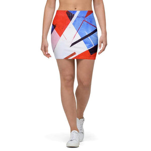 American Patriots Apparel Mini Skirt XS / Red/White/Blue Red White and Blue Puzzle Pattern Mini Skirt