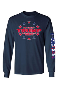 American Patriots Apparel Navy / LARGE / FRONT Unisex Trump Stars & Stripes Long Sleeve Shirt