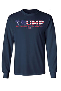 American Patriots Apparel Navy / LARGE / FRONT Unisex Trump USA Make America Even Greater Long Sleeve Shirt