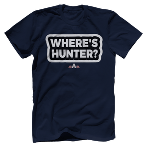 Print Brains Navy / S / Port & Co US Made Cotton Tee Where's Hunter? T-Shirt (6 Variants)