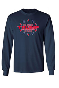 American Patriots Apparel Navy / XLARGE / FRONT Unisex Trump Stars & Stripes Long Sleeve Shirt
