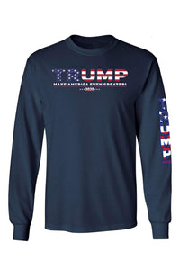 American Patriots Apparel Navy / XXL / FRONT Unisex Trump USA Make America Even Greater Long Sleeve Shirt
