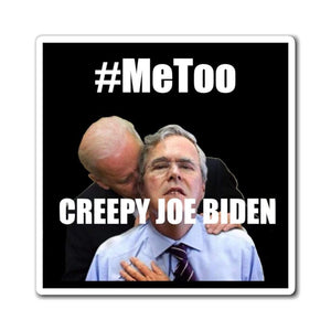 "Printify Paper products 4"" × 4"" Creepy Joe Biden Magnet (3 Sizes)"