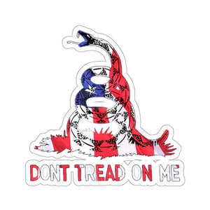 "Printify Paper products 6"" × 6"" / White Don't Tread On Me American Gadsden Snake Sticker (4 Sizes)"