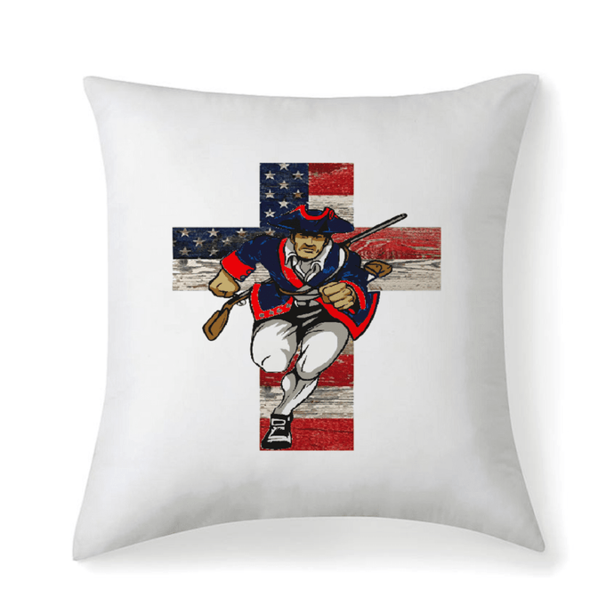 American Patriots Apparel Pillow 14''x14'' / Pillow Case Only Patriot Cross Microfiber Fabric Throw Square Pillow Case W/Optional Pillow Insert