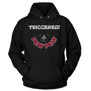 Print Brains Port & Co Core Fleece Hooded Sweatshirt / Black / S Triggered Pew Pew Hoodie (6 Variants)