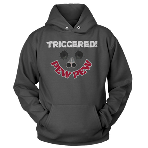 Print Brains Port & Co Core Fleece Hooded Sweatshirt / Dark Gray / S Triggered Pew Pew Hoodie (6 Variants)