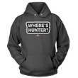 Load image into Gallery viewer, Print Brains Port & Co Core Fleece Hooded Sweatshirt / Dark Gray / S Where's Hunter? Hoodie (6 Variants)