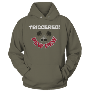 Print Brains Port & Co Core Fleece Hooded Sweatshirt / Military Green / S Triggered Pew Pew Hoodie (6 Variants)