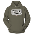 Load image into Gallery viewer, Print Brains Port & Co Core Fleece Hooded Sweatshirt / Military Green / S Where's Hunter? Hoodie (6 Variants)