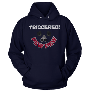 Print Brains Port & Co Core Fleece Hooded Sweatshirt / Navy / S Triggered Pew Pew Hoodie (6 Variants)