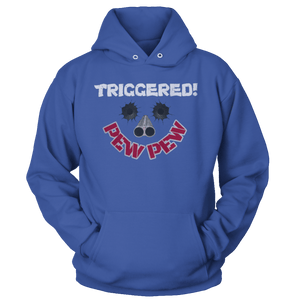 Print Brains Port & Co Core Fleece Hooded Sweatshirt / Royal Blue / S Triggered Pew Pew Hoodie (6 Variants)