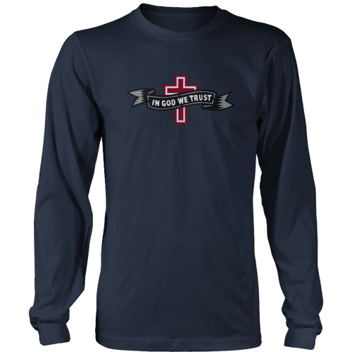 Print Brains Port & Co US Made Cotton Long Sleeve Crew / Navy / S In God We Trust Cross Black & Gray Ribbon Long-Sleeve T-Shirt (8 Variants)