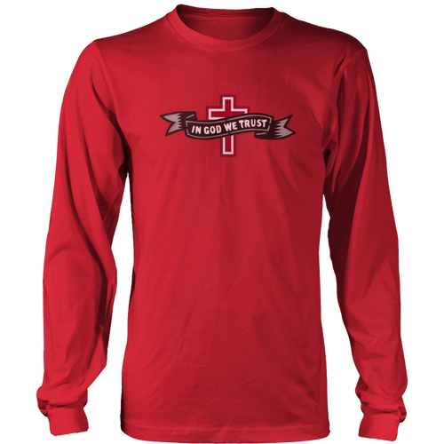 Print Brains Port & Co US Made Cotton Long Sleeve Crew / Red / S In God We Trust Cross Black & Gray Ribbon Long-Sleeve T-Shirt (8 Variants)