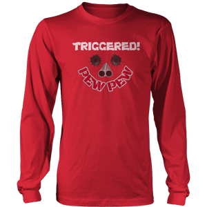 Print Brains Port & Co US Made Cotton Long Sleeve Crew / Red / S Triggered Pew Pew Long-Sleeve T-Shirt (8 Variants)