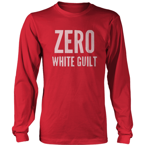 Print Brains Port & Co US Made Cotton Long Sleeve Crew / Red / S Zero White Guilt Long-Sleeve T-Shirt (8 Variants)