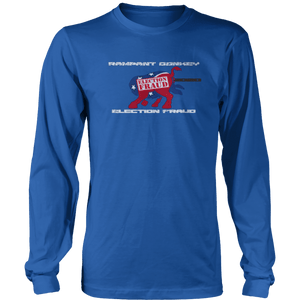 Print Brains Port & Co US Made Cotton Long Sleeve Crew / Royal Blue / S Rampant Donkey Election Fraud 2020 Long-Sleeve (8 Variants)
