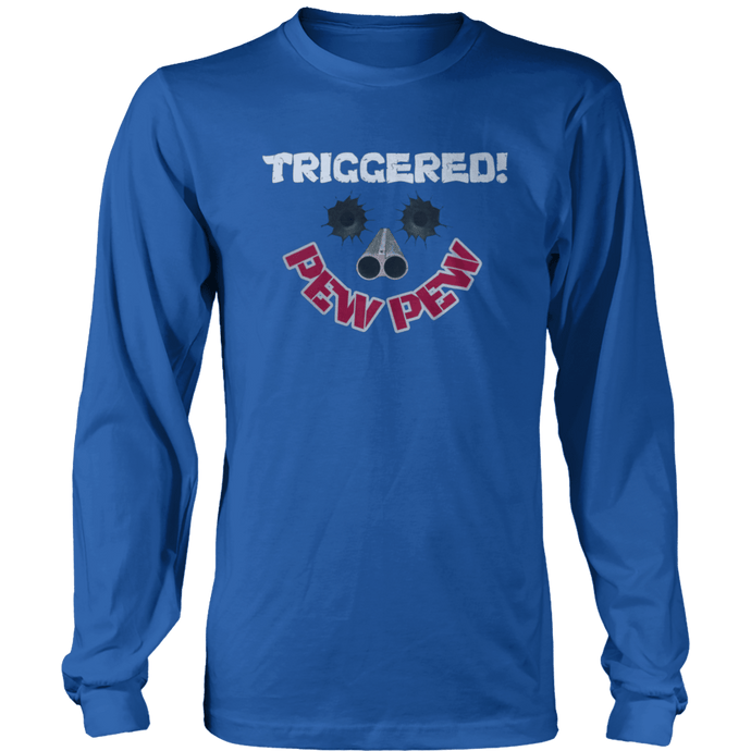 Print Brains Port & Co US Made Cotton Long Sleeve Crew / Royal Blue / S Triggered Pew Pew Long-Sleeve T-Shirt (8 Variants)