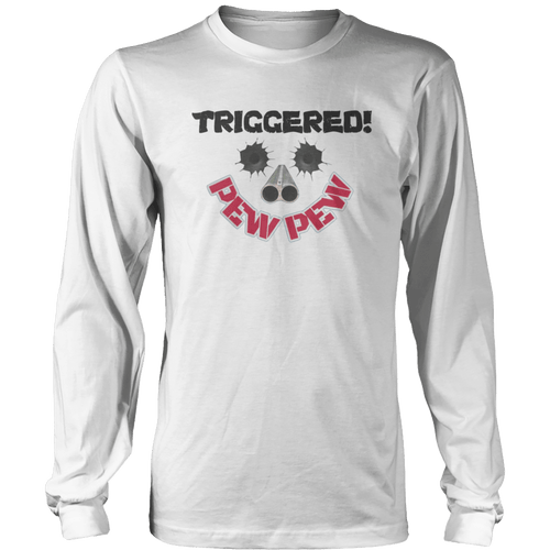Print Brains Port & Co US Made Cotton Long Sleeve Crew / White / S Triggered Pew Pew Long-Sleeve T-Shirt (8 Variants)