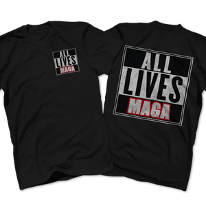 Print Brains Port & Co US Made Cotton Tee / Black / S ALL LIVES MAGA Left Chest Full Back Tee (6 Variants)