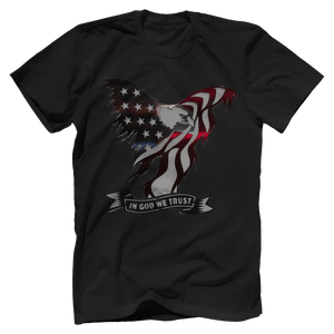Print Brains Port & Co US Made Cotton Tee / Black / S In God We Trust Eagle T-Shirt (6 Variants)