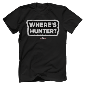 Print Brains Port & Co US Made Cotton Tee / Black / S Where's Hunter? T-Shirt (6 Variants)