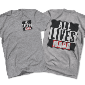 Print Brains Port & Co US Made Cotton Tee / Heather Gray / S ALL LIVES MAGA Left Chest Full Back Tee (6 Variants)