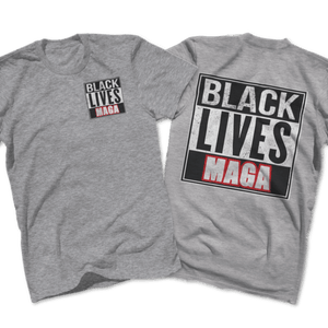 Print Brains Port & Co US Made Cotton Tee / Heather Gray / S BLACK LIVES MAGA Left Chest Full Back Tee (6 Variants)