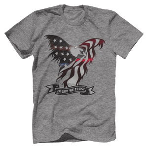 Print Brains Port & Co US Made Cotton Tee / Heather Gray / S In God We Trust Eagle T-Shirt (6 Variants)