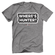 Load image into Gallery viewer, Print Brains Port & Co US Made Cotton Tee / Heather Gray / S Where's Hunter? T-Shirt (6 Variants)