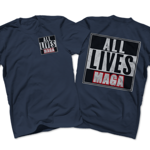 Print Brains Port & Co US Made Cotton Tee / Navy / S ALL LIVES MAGA Left Chest Full Back Tee (6 Variants)