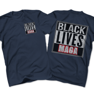 Print Brains Port & Co US Made Cotton Tee / Navy / S BLACK LIVES MAGA Left Chest Full Back Tee (6 Variants)