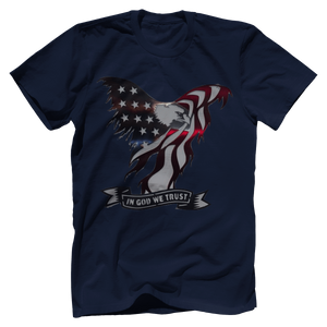 Print Brains Port & Co US Made Cotton Tee / Navy / S In God We Trust Eagle T-Shirt (6 Variants)