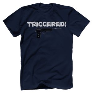 Print Brains Port & Co US Made Cotton Tee / Navy / S Triggered Gun T-Shirt (6 Variants)