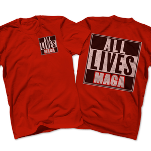 Print Brains Port & Co US Made Cotton Tee / Red / S ALL LIVES MAGA Left Chest Full Back Tee (6 Variants)