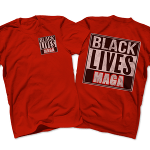 Print Brains Port & Co US Made Cotton Tee / Red / S BLACK LIVES MAGA Left Chest Full Back Tee (6 Variants)