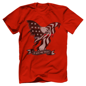 Print Brains Port & Co US Made Cotton Tee / Red / S In God We Trust Eagle T-Shirt (6 Variants)