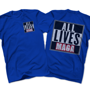 Print Brains Port & Co US Made Cotton Tee / Royal Blue / S ALL LIVES MAGA Left Chest Full Back Tee (6 Variants)