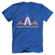 Load image into Gallery viewer, Print Brains Port & Co US Made Cotton Tee / Royal Blue / S American Patriots Apparel Jet Contrails Tee (6 Variants)