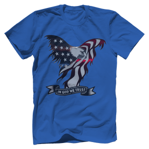 Print Brains Port & Co US Made Cotton Tee / Royal Blue / S In God We Trust Eagle T-Shirt (6 Variants)