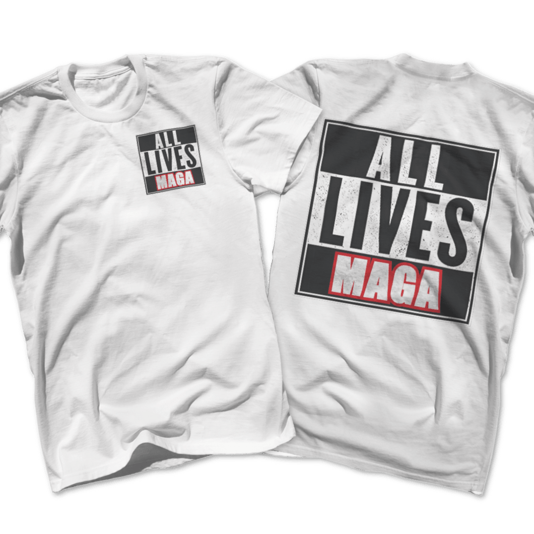 Print Brains Port & Co US Made Cotton Tee / White / S ALL LIVES MAGA Left Chest Full Back Tee (6 Variants)