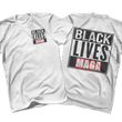 Load image into Gallery viewer, Print Brains Port & Co US Made Cotton Tee / White / S BLACK LIVES MAGA Left Chest Full Back Tee (6 Variants)