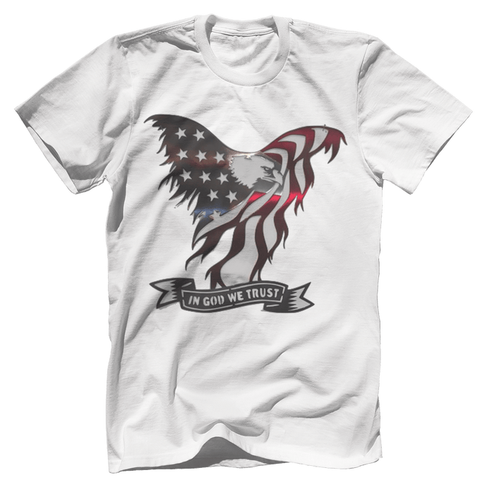 Print Brains Port & Co US Made Cotton Tee / White / S In God We Trust Eagle T-Shirt (6 Variants)