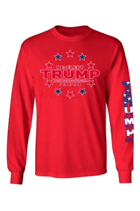 American Patriots Apparel Red / LARGE / FRONT Unisex Trump Stars & Stripes Long Sleeve Shirt