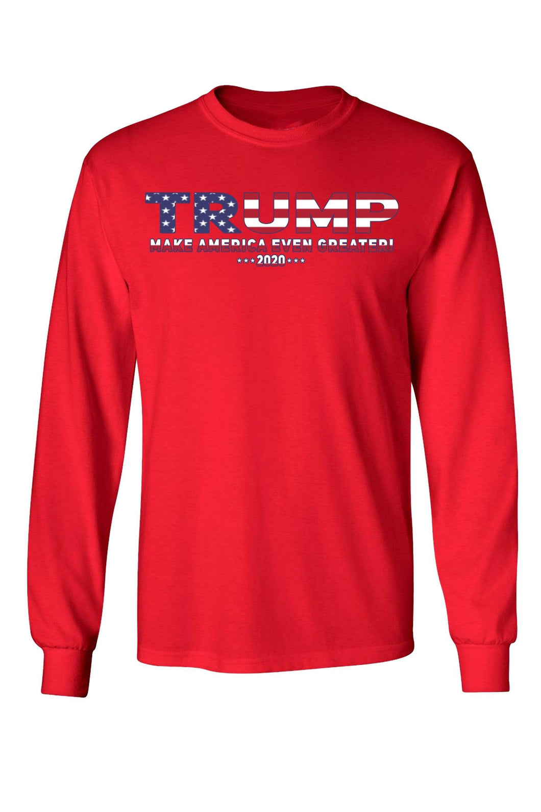 American Patriots Apparel Red / MEDIUM / FRONT Unisex Trump USA Make America Even Greater Long Sleeve Shirt