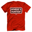Load image into Gallery viewer, Print Brains Red / S / Port & Co US Made Cotton Tee Where's Hunter? T-Shirt (6 Variants)